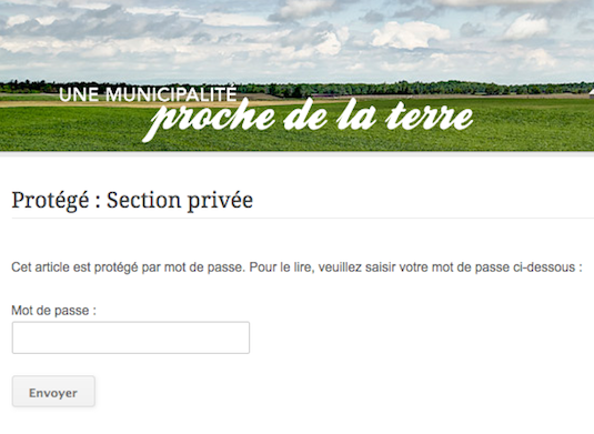 Site web municipal - section privée
